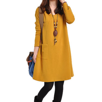 Korean Women's Fashion Plus Size Casual Round-neck One Piece Dress [4919721860]