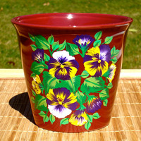 Flower Pot With Painted Pansies