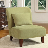 Contemporary Accent Chair Pale Sage Green Upholstery With Pillow Living Room Use
