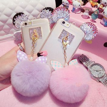 Fashion DIY 3D Bling Crystal Cute Mice Ear Head Bowknot Fur Ball Tassel Soft Clear TPU Case For iPhone 5s 6 6S 7 Plus Girly Case