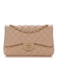 CHANEL Lambskin Quilted Jumbo Double Flap Beige Clair