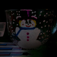 All My Friends Are Flakes Lady Snowman Painted Glass Mug Funny Humor Friendship Gift For Her Hand Painted Pink Hat Snowflakes Coworker