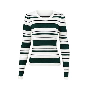 Hit The Books Stripe Pattern Ribbed Long Sleeve Crew Neck Fitted Pullover Sweater