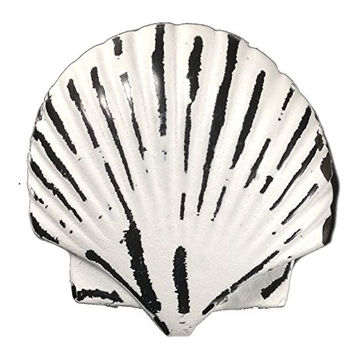 Vintage Seascape Shell Drawer Cabinet Cupboard Pull Knob (Scallop Shell - White)