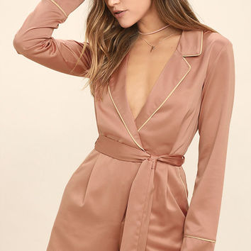 Morning Star Blush Pink Satin Long Sleeve Romper