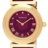 VERSACE watch VANITY Red Dial stainless steel PGPVD case calf leather belt
