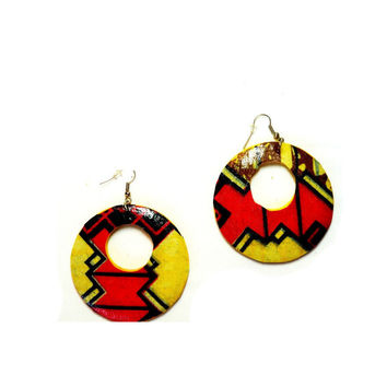 Valentine's Day Earrings, Pink African Fabric Earrings- African Jewelry - Handmade African Print Earrings, tribal earrings, Ethnic earring