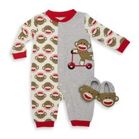 Baby Starters® 2-Piece Sock Monkey Coverall and Slipper Set in Red/Grey