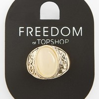 Topshop Oval Stone Engraved Ring