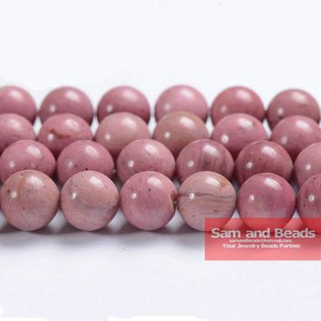 """Free Shipping Natural Stone Grade AAA Rhodonite Round Beads 16"""" Strand 4 6 8 10 12MM Pick Size For Jewelry Making RB01"""