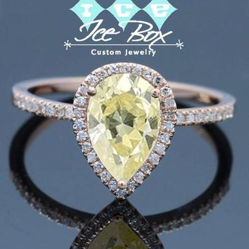 Moissanite Engagement Ring - 1.5ct, 6 x 9mm Pear Cut Light Yellow Moissanite in a 14k Rose Gold Diamond Halo Setting