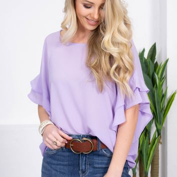 Merengue Flowy Flutter Top | Lilac