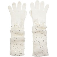 Ivory Gloves With Bows & Sequins