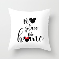 no place like home mickey and minnie mouse handwritten  disney inspirational quote throw pillow with insert