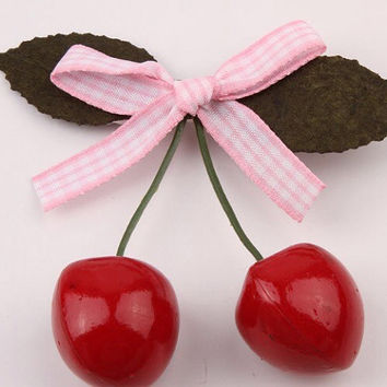 2x Gingham Cherry Leaf Hair Clip Hairclip Cherries Ribbon Sweet Lolita Kawaii Fairy Kei Classic Classical Lolita Cute Hippie Picnic Nature