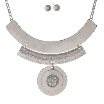 Silver Tone Necklace with a Hammered Curve Bar & Circle Pendant and Matching Stud Earrings
