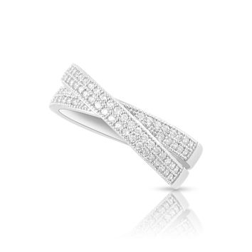 Sterling Silver Simulated Diamond CrissCross X Ring