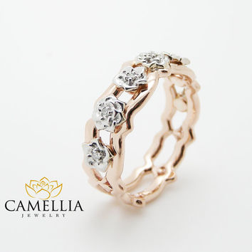 14K Rose Gold Diamond Wedding Ring Unique Gold Roses Band Right Hand Diamond Ring