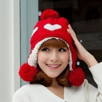 Korea Style Cute Love Heart Pattern Three Big Balls Decoration Thicken Crochet Winter Hats For Women Girls Beanies Lady Caps