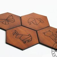 Geometric Home decor,Origami Hexagon Coasters Hexagon Coasters,Animals lover gift,Set of 4 hexagonal,butterfly,rabbit,elephant,cat,Craftive