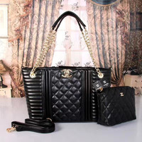 shosouvenir : CHANEL Women Shopping Bag Leather Tote Handbag Shoulder Bag Two Piece Set