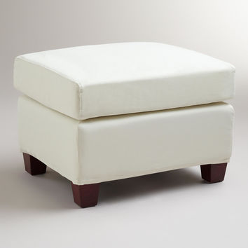 Ivory Luxe Ottoman Slipcover - World Market