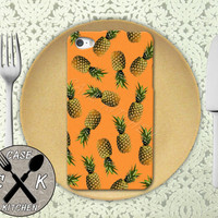 Pineapple Pattern Orange Cute Fruit Summer Tumblr Custom Rubber Tough Phone Case For The iPhone 4 and 4s and iPhone 5 and 5s and 5c