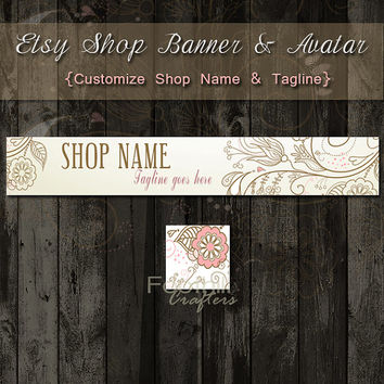 Etsy Shop Banner and Matching Avatar - Premade Hearts and Floral Branch - Customize Shop Name and Tagline - Graphic Design Service - Logo