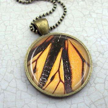 Butterfly Wing Necklace: Orange Black. Butterfly Art. Pendant. Charms. Bronze Jewelry. Handmade Jewelry. Lizabettas (1386)