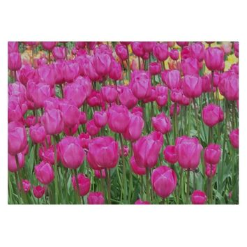 Pink Tulips Floral Cutting Board