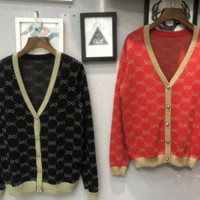 GUCCI Autumn and winter new fashion more letter v-neck knit leisure long-sleeved coat cardigan sweater