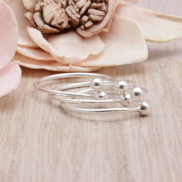 Set of 3, 925 sterling silver Small Ball ring