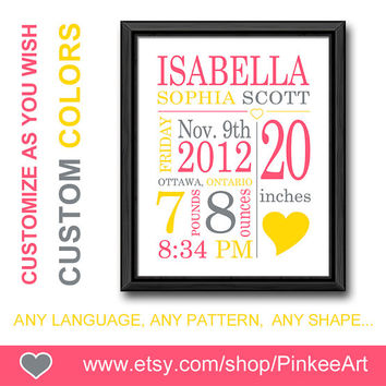 personalized baby gifts wall decor newborn birth announcement gift for new parents custom birth stats baby sign new baby decor birth print