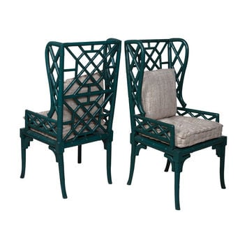 Bamboo Wing Back Chair Teal (Set of 2)