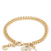 Pave Heart And Key Charm Bracelet by Juicy Couture