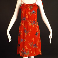 1970s Red Printed Knit Sun Dress, Bust-32
