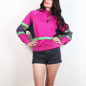 Vintage 80s Sweatshirt Dark Pink Neon Abstract Print Saved By The Bell New Wave Surfer Mod Sweater 1980s Tshirt Jumper Jantzen S M Medium