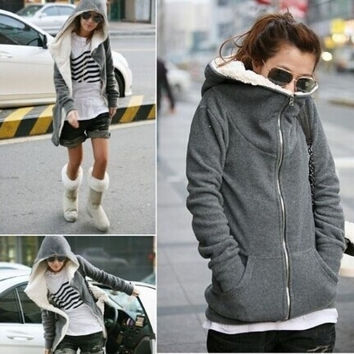 Fashion Women's Zip Up Tops Hoodie Coat Jacket Outerwear Sweatshirt = 1932544324