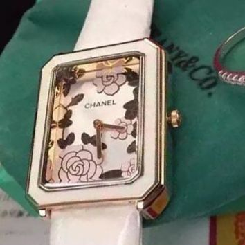 CHANEL Trending Ladies Camellia Print Cute Watch Casual Wristwatch White I-YF-GZYFBY