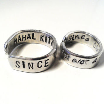 Couples Ring His Her Metal Stamped Silver Secret Message Adjustable Engraved Custom Personalized Unisex Mens Womens Promise Anniversary Gift