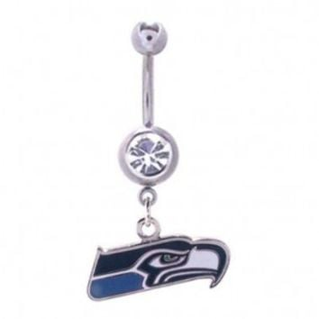 Seattle Seahawks 316L Stainless Steel Navel Ring with Cubic Zirconia - 14G - 5/8 Inch Bar Length - Sold as a Single Item