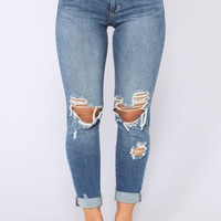 Guess Who's Back Distressed Jeans - Medium Blue