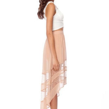 Up High, Lace Low Skirt in Nude :: tobi