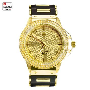 Jewelry Kay style Men's Bling Iced Out Gold Plated Silicone Band Techno Pave Watches WR 6212 GBK