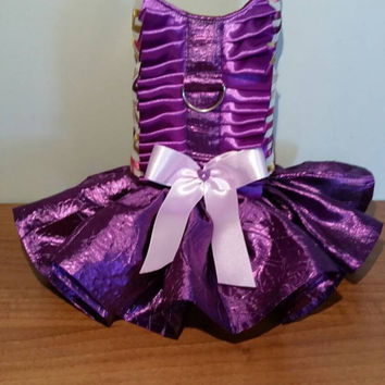 Dog harness dress - handmade - size xsmall dog dress - chihuahua dress - pet clothing - custom made dog clothes - purple dog dress