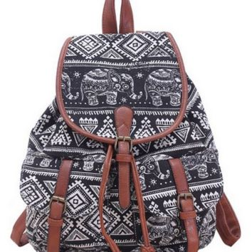 Elephants Aztec Pattern Buckle Flap Backpack