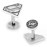 DC Comics Superman Shield Sterling Silver Cuff Links (Grey)