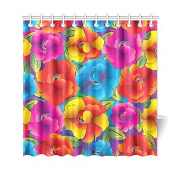 "Neon Colored Floral Pattern Shower Curtain 69""x70"""
