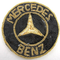 """Mercedes Benz Auto Patch with Black and Gold Sequins and Beads 5.5"""""""