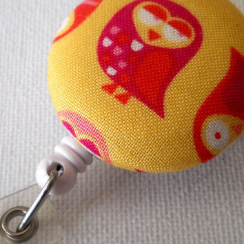 Pink and Yellow Owl ID Badge Reel Retractable by JeJeweled on Etsy